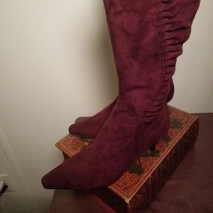 """""""Impo Stretch"""" Burgundy Suede  Knee Boots  7M"""
